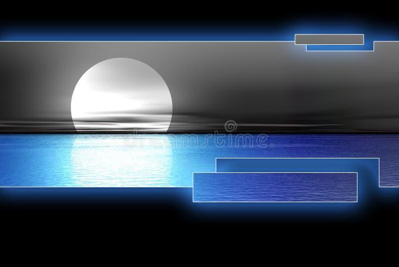 Blue water moon logoset royalty free stock image