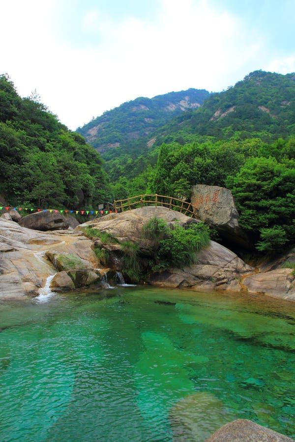 Blue water and mountains at Blue moon valley at Yunnan Lijiang stock image