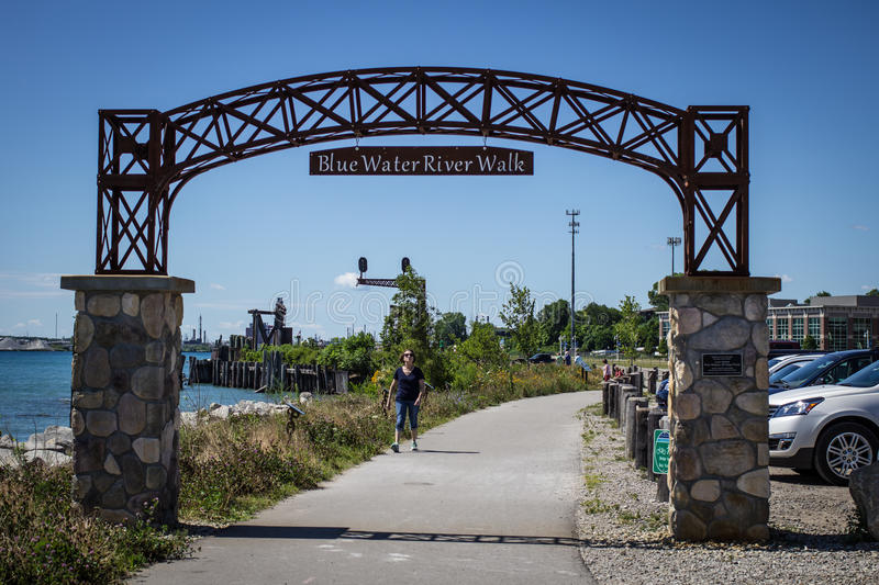 Blue Water River Walk. Port Huron, Michigan, USA - June 9, 2015. The Blue Water Riverwalk on a sunny summer day. The Riverwalk was opened on June 7, 2014 and stock photography