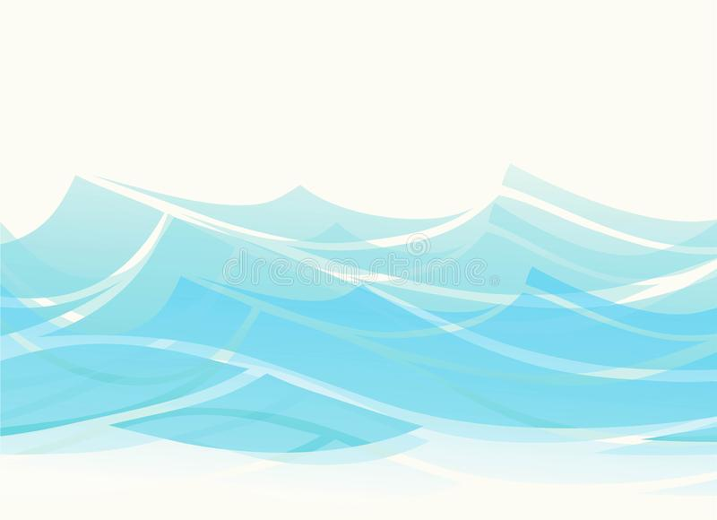 Blue water sea waves abstract vector background. Water wave curve background, ocean banner illustration royalty free illustration