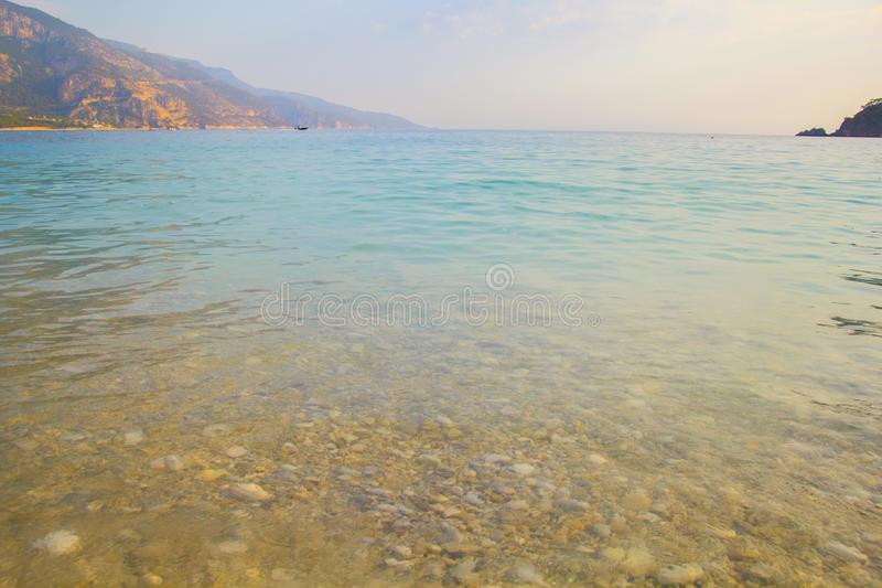 Blue water at the seaside royalty free stock photography
