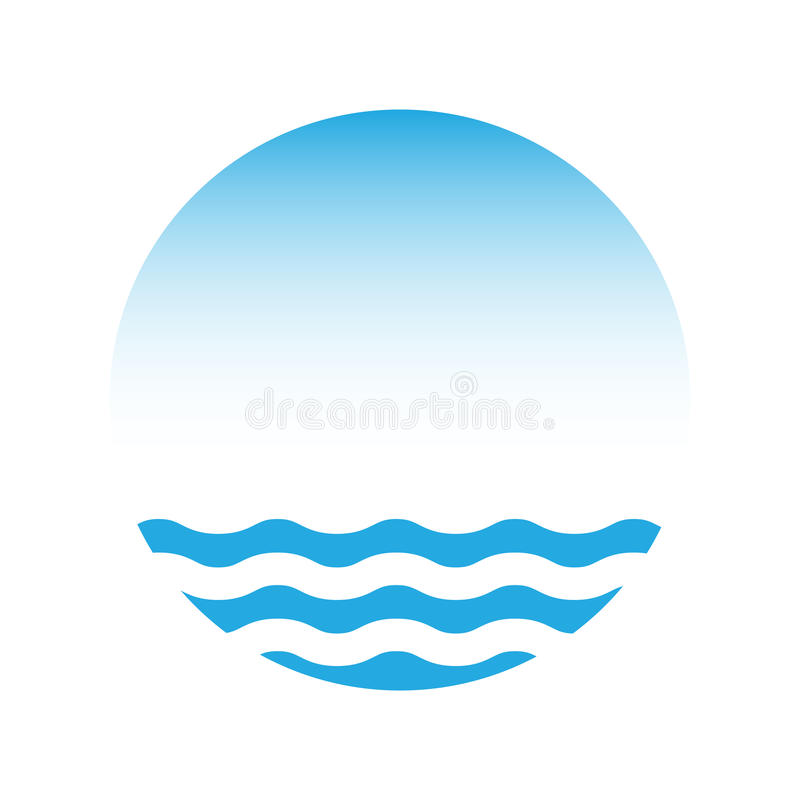 Blue water and sky, vector logo vector illustration