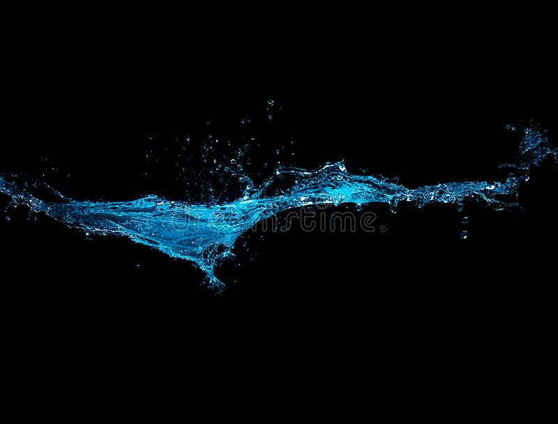 Blue Water Splash Isolated on Black Background stock photo