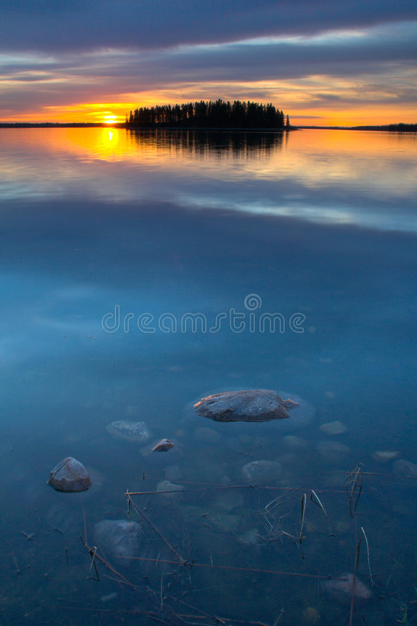 Blue Water Sunset royalty free stock photos