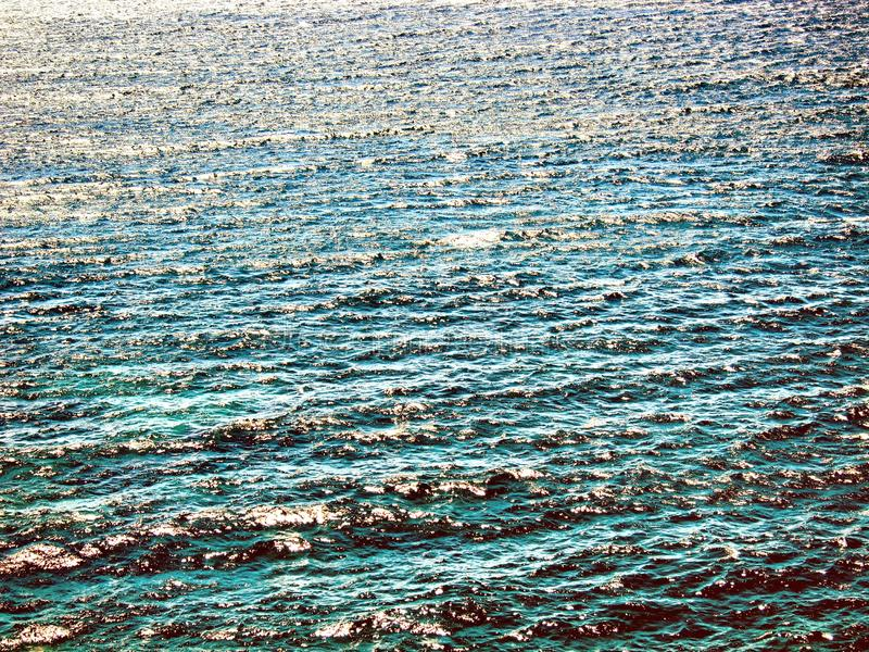 Blue Water Texture. Pattern at Noon on the Atlantic Ocean royalty free stock photos