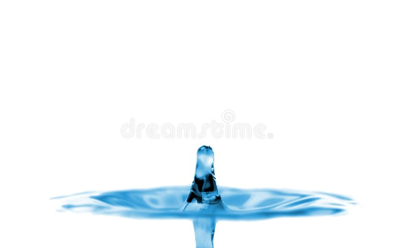 Blue water tower isolated over white royalty free stock images