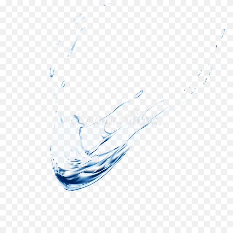 Blue water vector splash isolated on transparent background. blue realistic aqua spray with drops. 3d illustration. Semitransparent liquid surface backdrop stock illustration