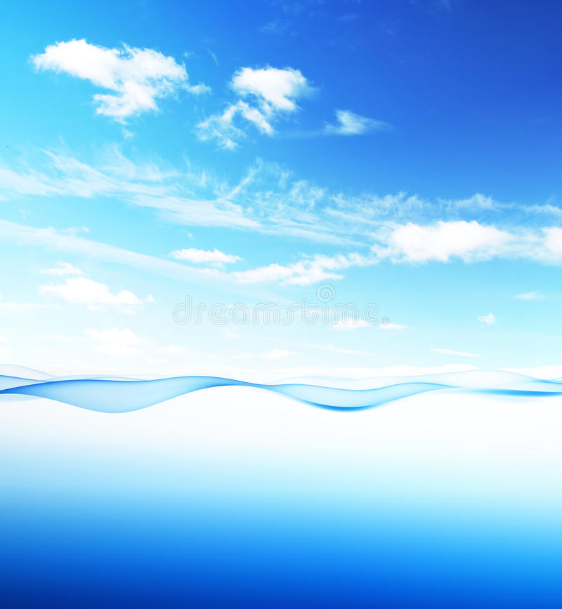 Blue water wave and sky vector illustration