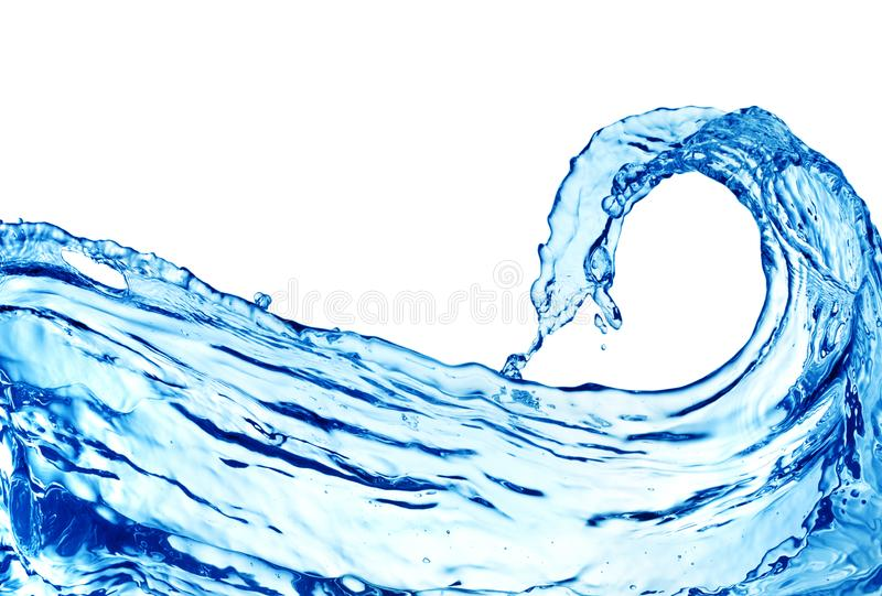 Water wave on white background royalty free stock photos
