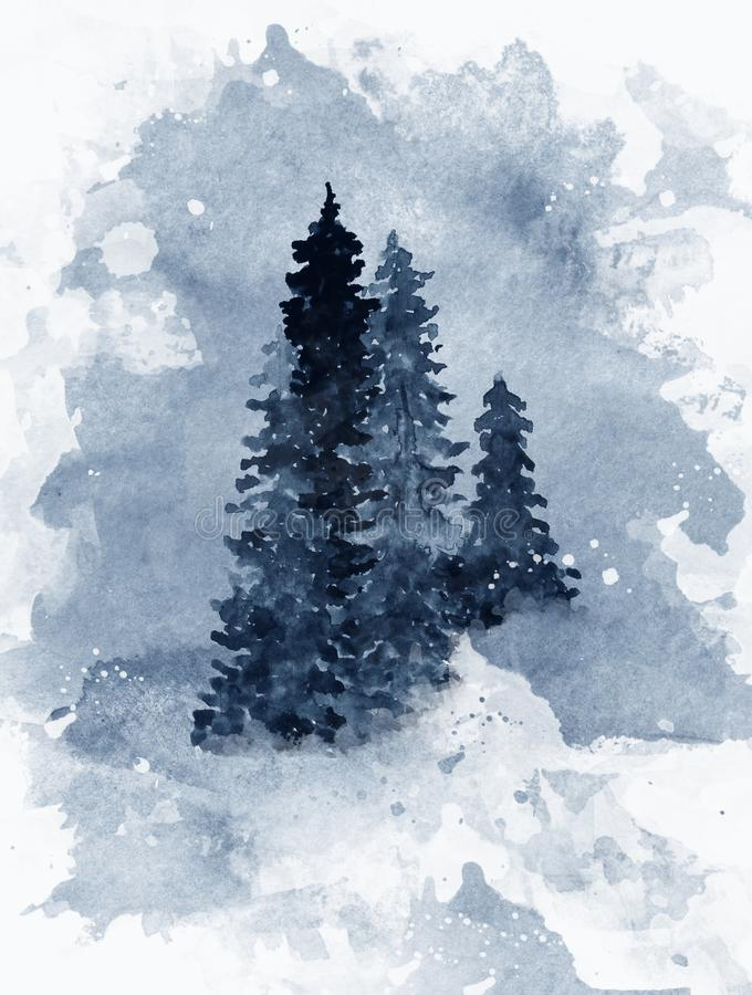 Blue watercolor background with forest trees in fog vector illustration
