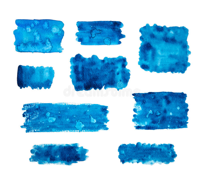 Blue watercolor banners. Isolated on a white background stock illustration