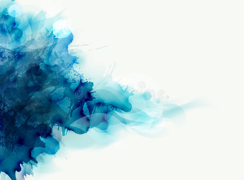 Blue watercolor big blot spread to the light background. Abstract composition for the elegant design. Blue watercolor big blot spread to the light background