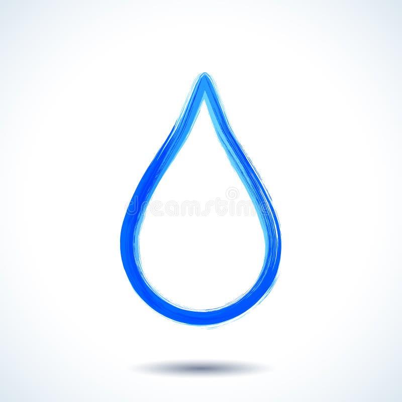 Blue watercolor brush painted ink water drop silhouette. Colorful blue watercolor brush painted ink water drop silhouette royalty free illustration