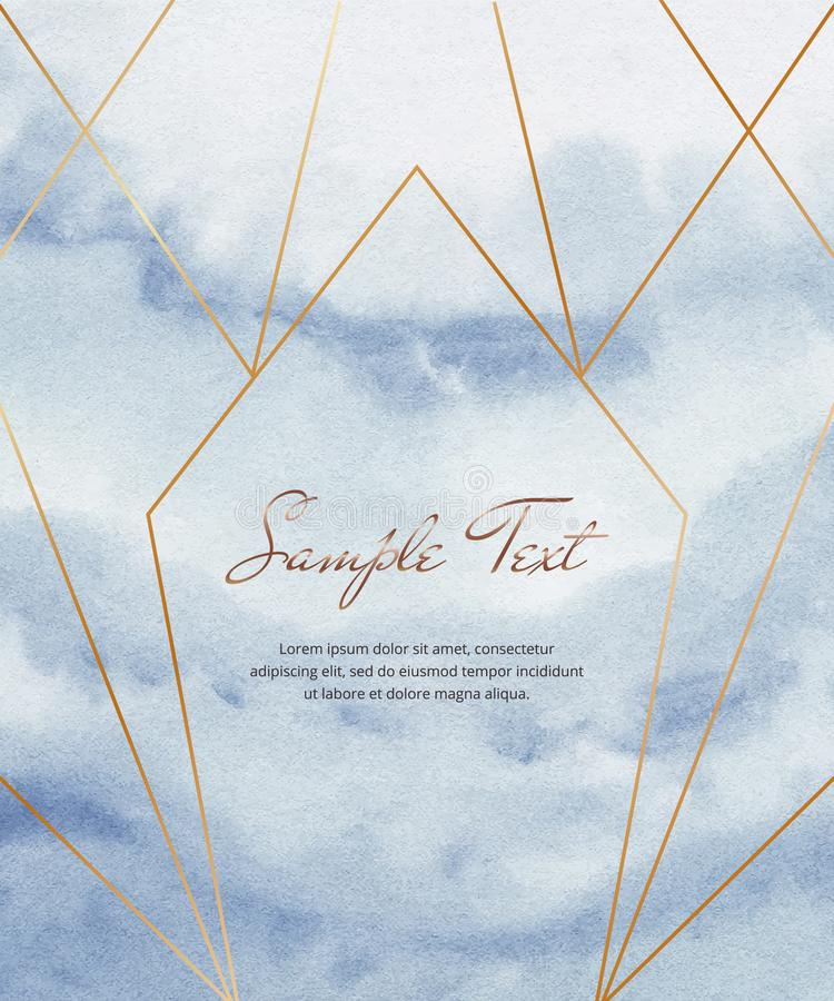 Blue watercolor brush stroke card with gold geometric polygonal lines. Modern template for wedding invitation, greeting, banner, f. Lyer, poster, save the date stock illustration