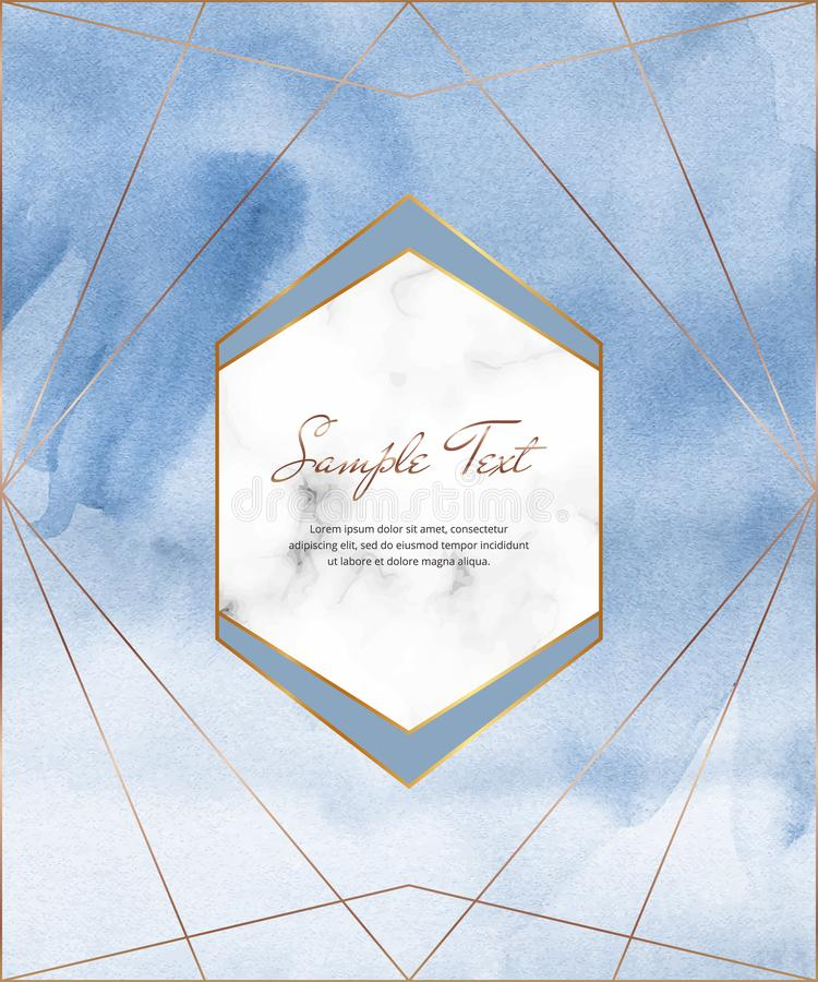 Blue watercolor brush stroke card with gold polygonal lines and geometric frame. Modern template for wedding invitation, greeting,. Banner, flyer, poster, save vector illustration