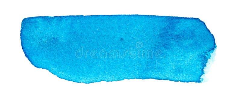 Blue watercolor brush stroke hand drawn. Blue watercolor brush stroke on white background stock images