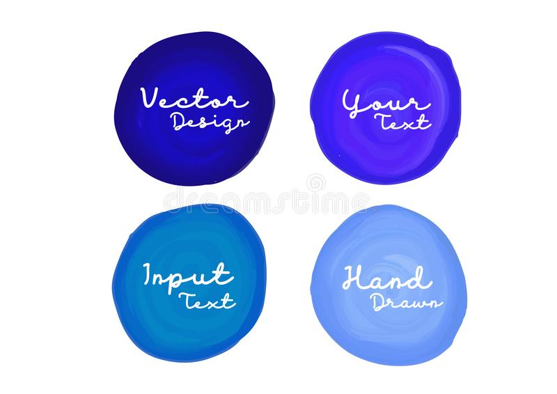 Blue watercolor circle paint, icon design, web icon, vector illustration, drawing object. Sign for cosmetics, Art abstract banner design vector illustration