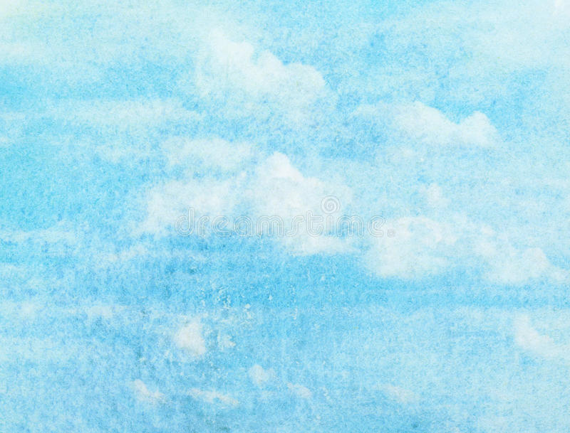 Blue watercolor cloud and sky. Spring, summer background stock photo