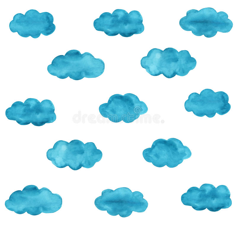 Blue watercolor clouds pattern. Watercolor clouds on white baground royalty free illustration