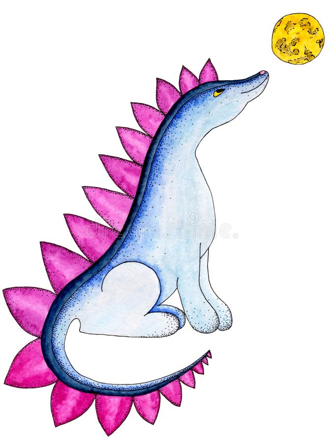 Blue watercolor dinosaur with a yellow moon on a white background royalty free illustration