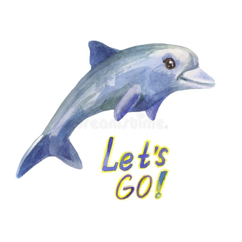 Blue watercolor dolphin quickly jumped over the water. Let`s go picture. Blue dolphin says let`s go! Watercolor cute character in cartoon style royalty free illustration