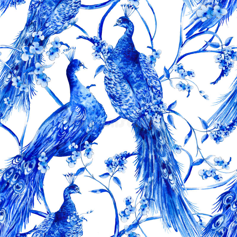 Blue watercolor flower vintage seamless pattern with peacocks royalty free illustration