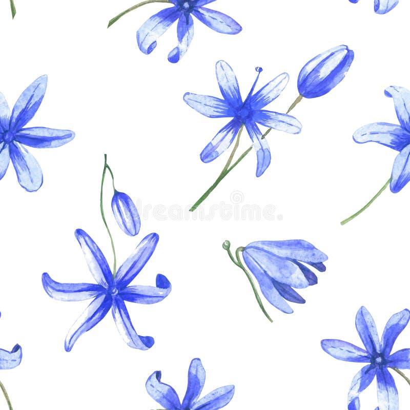 Blue watercolor flowers seamless pattern stock illustration