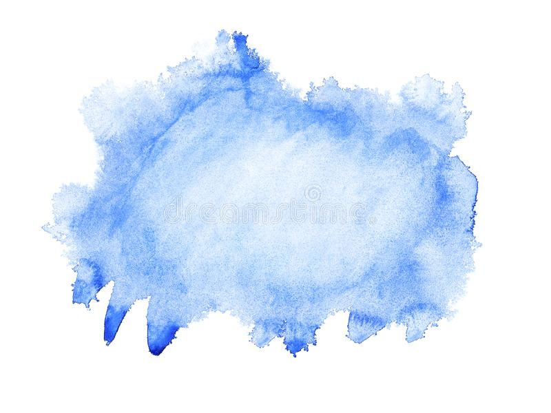 Blue watercolor hand drawn isolated wash spot on white background for text design, web. Abstract cold color brush paint paper grai vector illustration