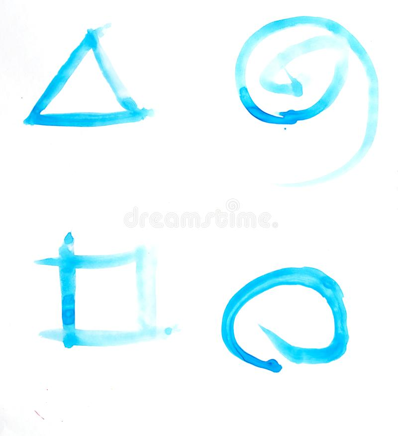The blue watercolor has triangles, squares, circles and spirals stock photography