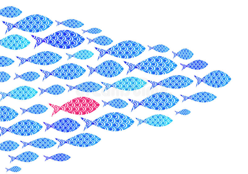 Blue Watercolor ocean fishes background vector illustration