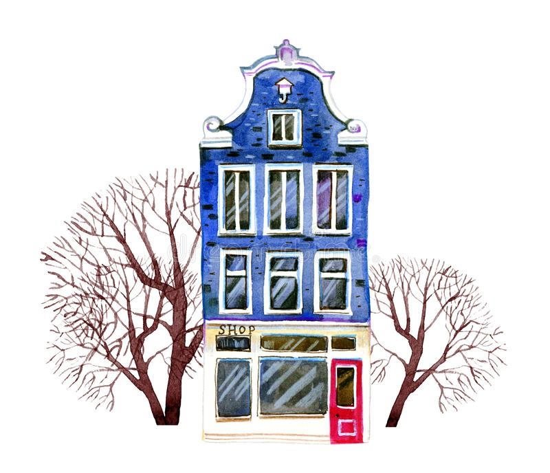 Blue watercolor old stone europe house. Amsterdam building with trees. Hand drawn cartoon illustration. Isolated on white background royalty free illustration