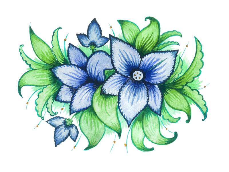 Blue watercolor ornamentical flowers royalty free stock image