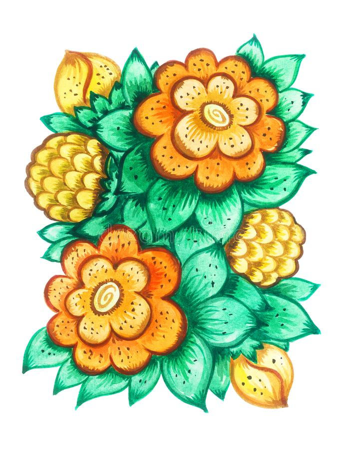 Orange watercolor ornamentical flowers royalty free stock photography