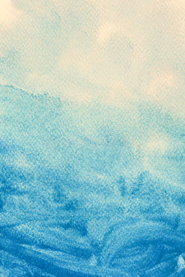 Blue watercolor paint on canvas. Abstract art background. stock illustration