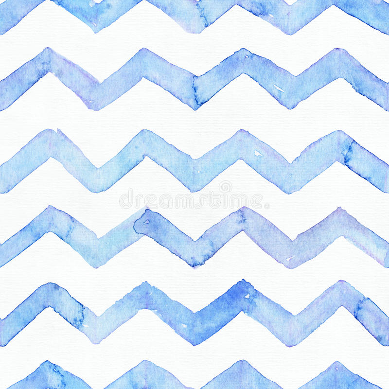 Blue watercolor seamless pattern with blue zigzag stripes, hand drawn with imperfections and water splashes. Square weave design, royalty free illustration