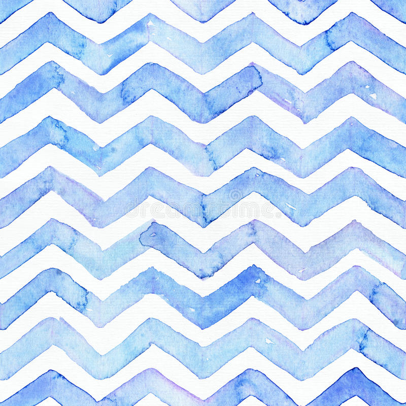 Blue watercolor seamless pattern with blue zigzag stripes, hand drawn with imperfections and water splashes. Square weave design, vector illustration
