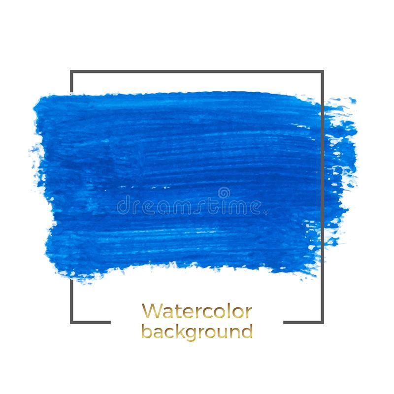 Blue watercolor splash brush stroke with square frame, Abstract of fluid ink, acrylic dry brush strokes, stains, spots. Background vector illustration