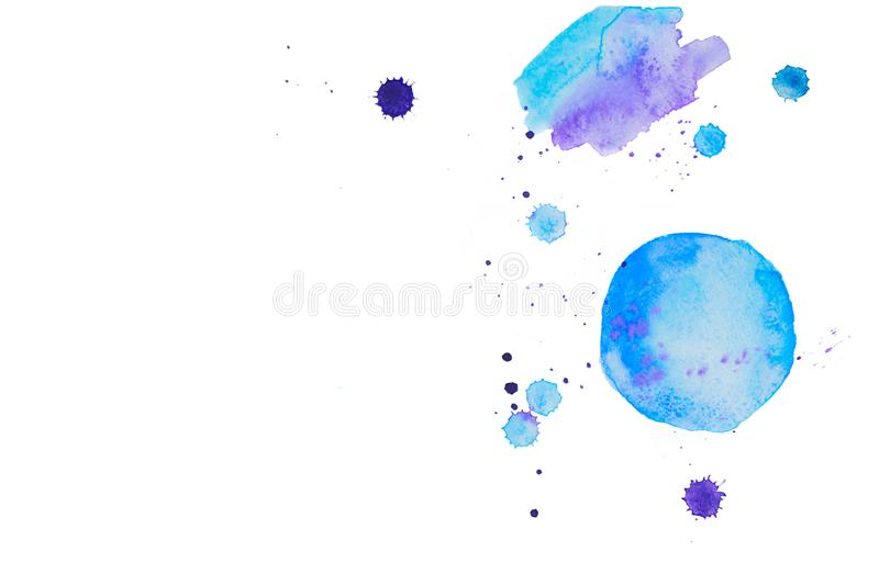 Blue watercolor spots. Isolated on white background stock photo