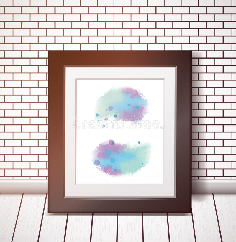 Blue watercolor stains in a black frame on a white brick wall stock illustration