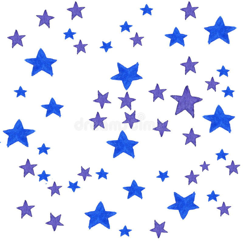 Blue watercolor stars background. illustration for greeting card, sticker, poster, banner. Isolated on white . stock image