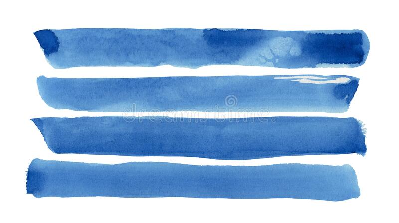 Blue watercolor strips isolated on white texture paper. illustration for design cover, label. Wedding illustration royalty free stock photos