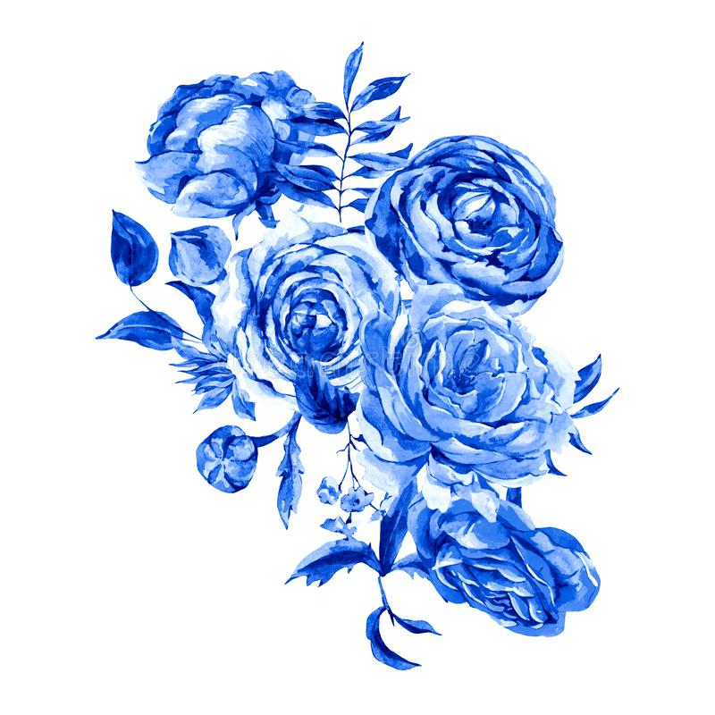 Blue Watercolor Vintage Floral Greeting Card, Watercolor Bouquet of Roses, Ranunculus royalty free illustration
