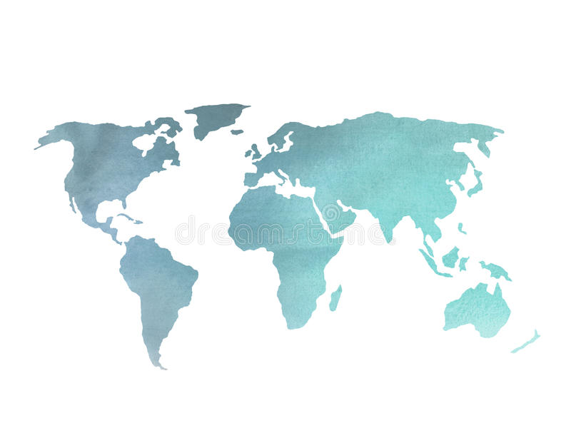 Blue watercolor world map stock photo image of world 46731026 download blue watercolor world map stock photo image of world 46731026 gumiabroncs Images