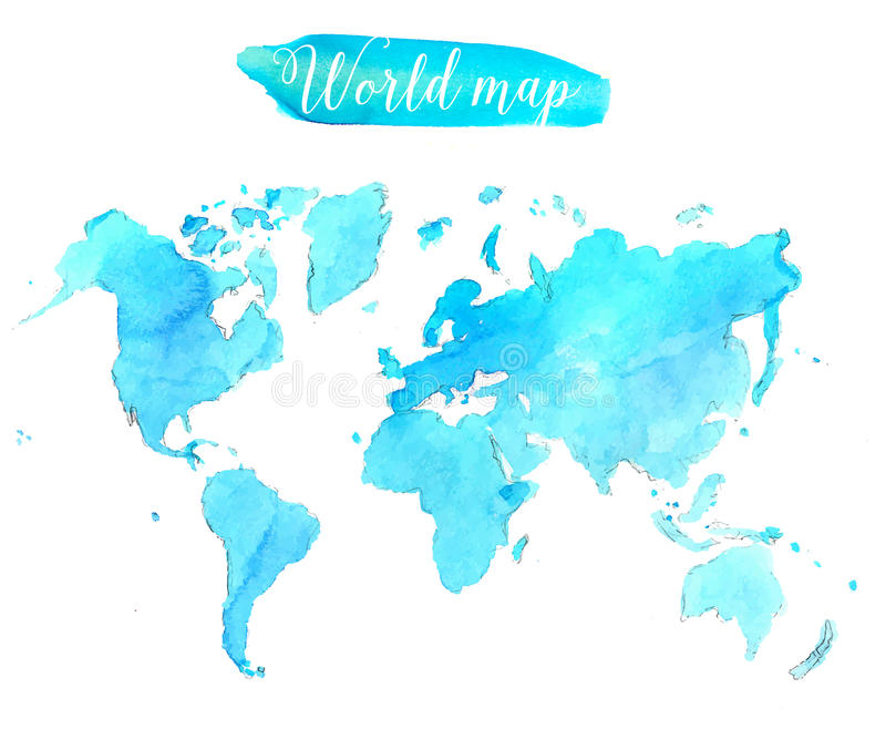 Blue watercolor world map. Vector artistic royalty free illustration