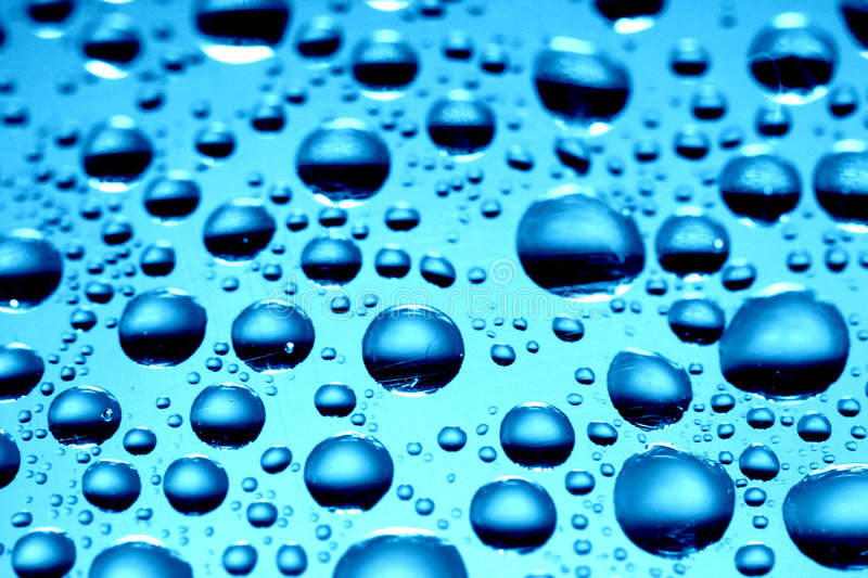Blue waterdrops stock photography
