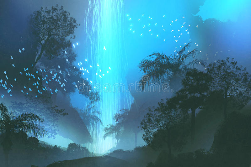 Blue waterfall in forest,landscape painting vector illustration