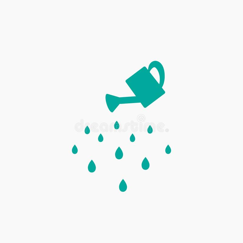 Blue watering can with water drops. Watering pictogram. Icon Isolated on white. wash icon. royalty free illustration