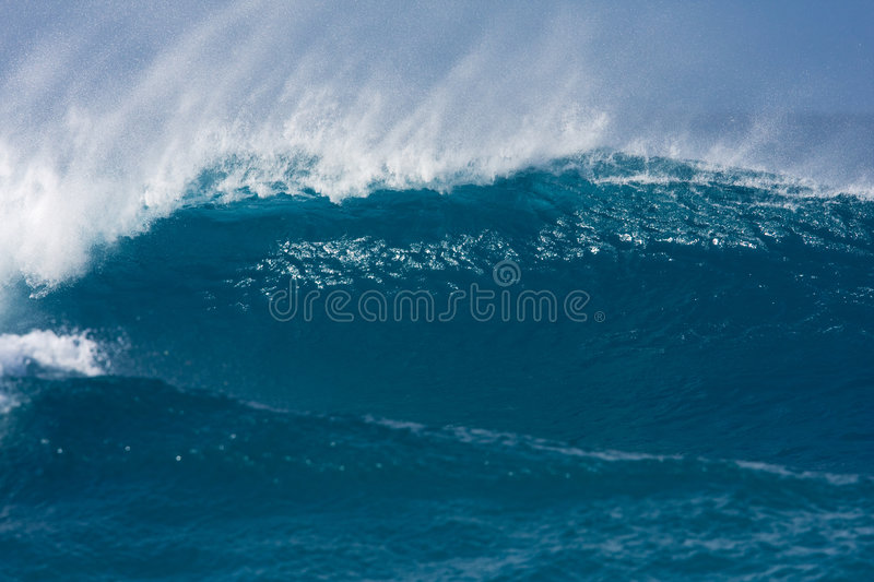 Blue Wave. Big Powerful Blue Wave Breaking on Reef, Extreme Surfing stock image