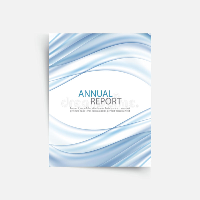 Blue wave annual report cover template. Brochure, flyer template layout, vector leaflet abstract background stock illustration