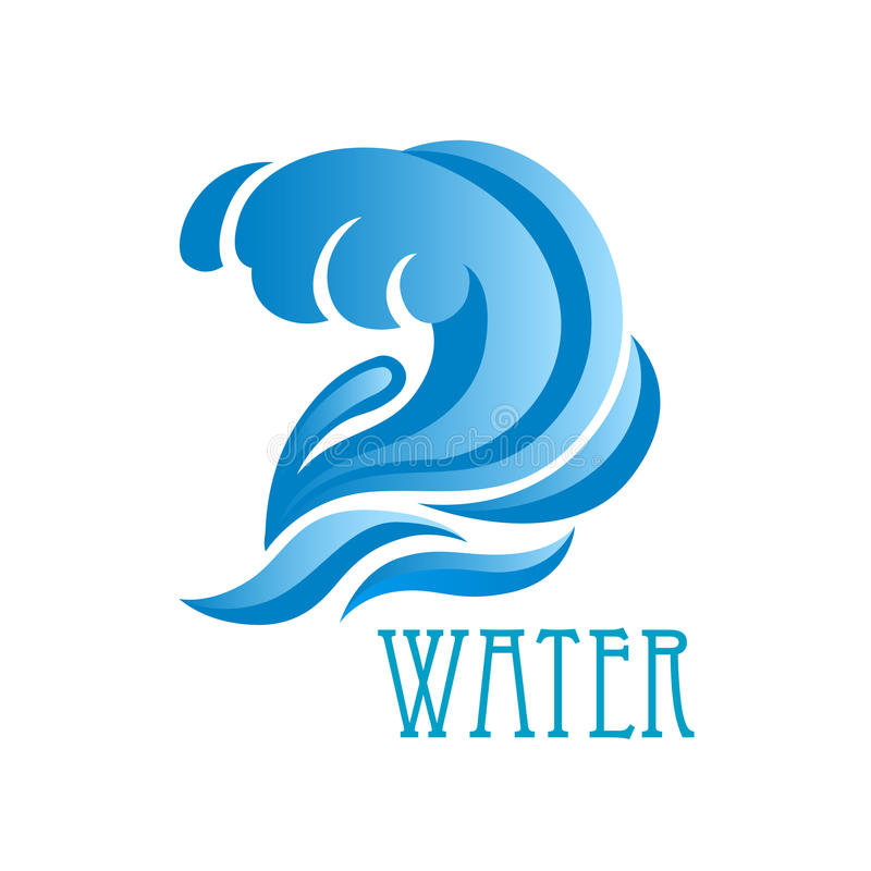 Blue wave with crest and flowing water drops vector illustration